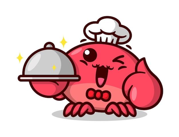 Mignon chef de crabe rouge souriant et servant de la nourriture mascotte de cartoon de haute qualité