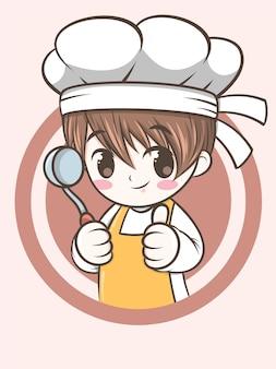 Mignon, chef, garçon, tenue, a, louche, soupe - chef, dessin animé