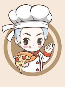 Mignon, chef, garçon, tenue, a, pizza - chef, dessin animé