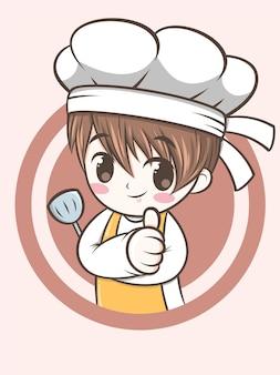 Mignon, chef, garçon, tenue, a, spatule - chef, dessin animé