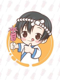 Mignon chef japonais présentant des calamars grillés, ikayaki - personnage de dessin animé.
