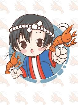 Mignon chef japonais présentant la nourriture de crevettes grillées, ebi-shioyaki - personnage de dessin animé.