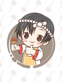 Mignon chef japonais présentant la nourriture takoyaki - personnage de dessin animé.