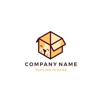 Mignon chien boîte cube animal de compagnie abonnement icône logo modèle vector illustration