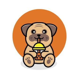 Mignon chien carlin buvant du thé boba