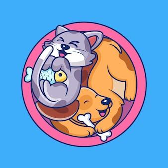 Mignon chien et chat en cercle isolé sur bleu