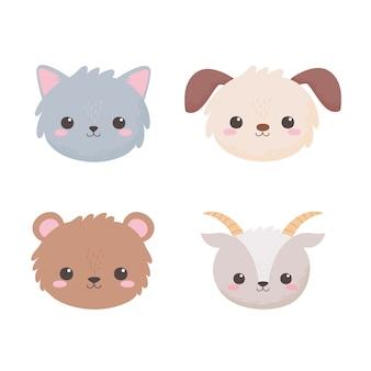 Mignon chien chèvre ours et chat dessin animé animaux vector illustration