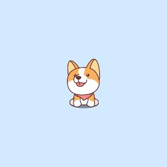 Mignon chien corgi assis et souriant vecteur de dessin animé