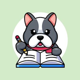 Mignon, chien, écriture, livre, à, crayon, dessin animé