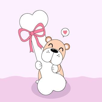 Mignon chien avec gros os et arc rose.