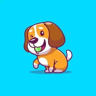 Mignon chien manger boule animal
