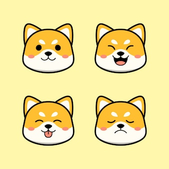 Mignon chien shiba inu avec ensemble d'animaux d'expression