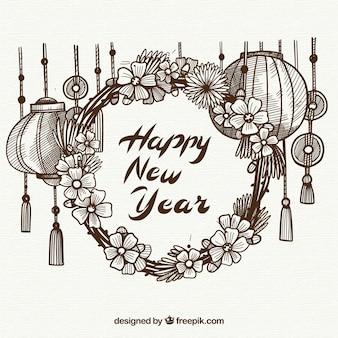 Mignon chinois bonne année fond