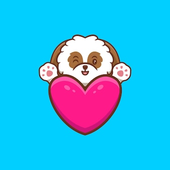 Mignon chiot shih-tzu agitant les pattes derrière le coeur cartoon icon illustration