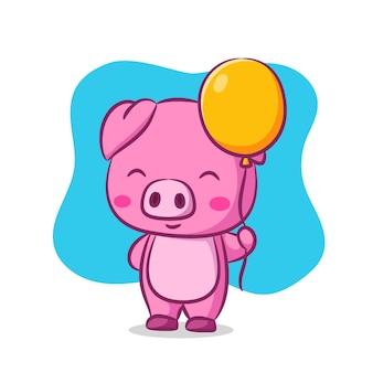 Mignon, cochon, tenue, corde, de, ballon jaune
