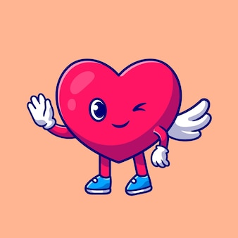 Mignon coeur ange amour agitant la main dessin animé icône illustration.