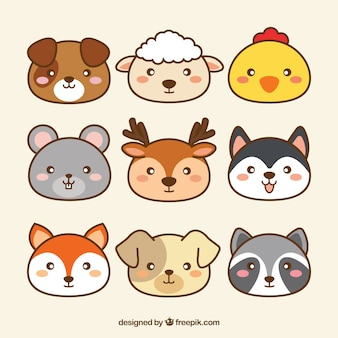 Mignon collection d'animaux kawaii