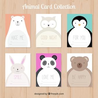 Mignon collection de cartes avec des animaux heureux