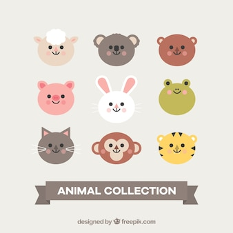 Mignon collection de visages d'animaux souriants