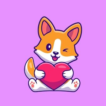 Mignon, corgi, chien, tenue, coeur, dessin animé
