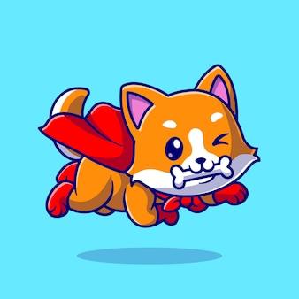 Mignon corgi dog super hero bite bone cartoon vector icon illustration. concept d'icône de nature animale isolé vecteur premium. style de dessin animé plat
