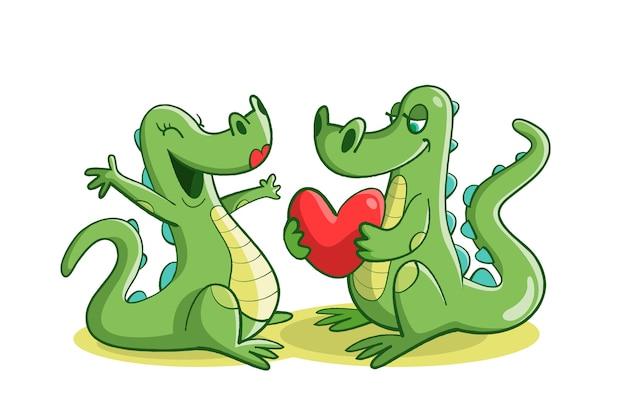 Mignon couple d'animaux de la saint-valentin avec des crocodiles