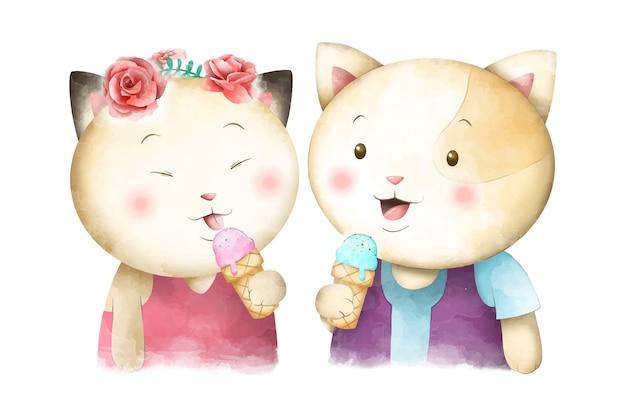 Mignon couple aquarelle chat manger de la crème glacée vecteur premium