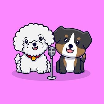 Mignon, couple, chien, chant, ensemble, dessin animé, icône, illustration