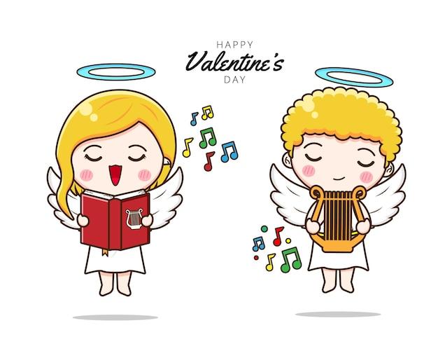 Mignon, couple, cupidon, chant, et, jouer harpe
