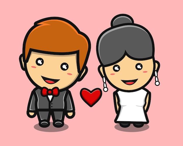 Mignon couple garçon et fille marié dessin animé