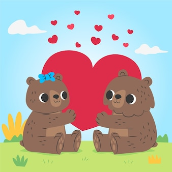 Mignon couple d'ours de la saint-valentin