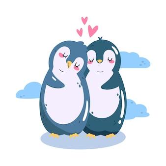 Mignon couple de pingouins de la saint-valentin
