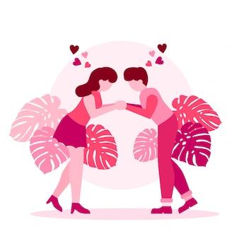 Mignon couple romantique valentine