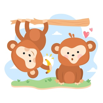 Mignon couple de singes de la saint-valentin