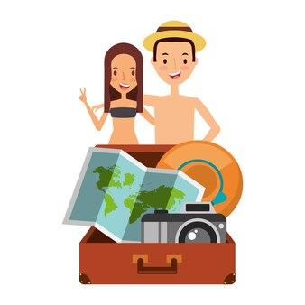 Mignon couple touristes valise caméra carte et chapeau