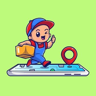 Mignon courrier livraison paquet en ligne cartoon vector icon illustration. concept d'icône d'entreprise de personnes isolé vecteur premium. style de dessin animé plat