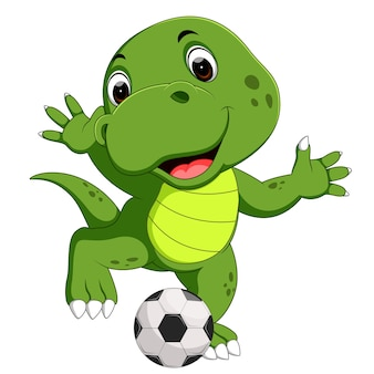 Mignon crocodile jouant au football