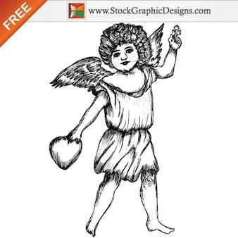 Mignon cupidon ange illustration vecteur libre