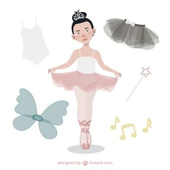 Mignon danseuse de ballet avec des accessoires