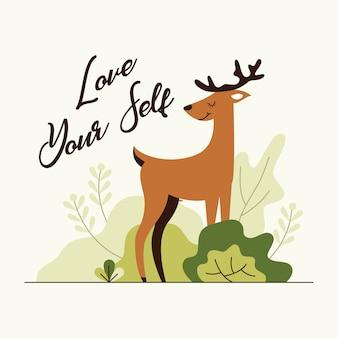 Mignon deer stand entre l'herbe avec illustration vectorielle mot motivation
