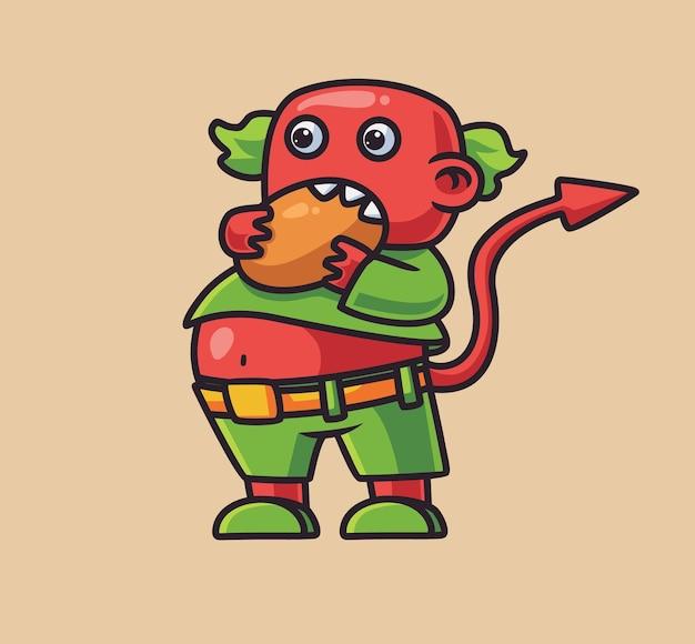 Mignon démon satan mangeant. illustration d'halloween animal de dessin animé isolé. style plat adapté au vecteur de logo premium sticker icon design. personnage mascotte