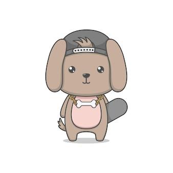 Mignon, dessin animé, chiot, chien, caractère, tenue, skateboard