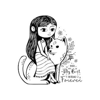 Mignon dessiné à la main avec l'illustration du meilleur ami