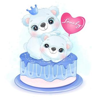 Mignon deux petits ours polaires assis dans l'illustration du gâteau