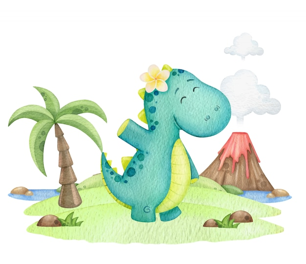 Mignon dinosaure agite sa main sur une île avec un volcan