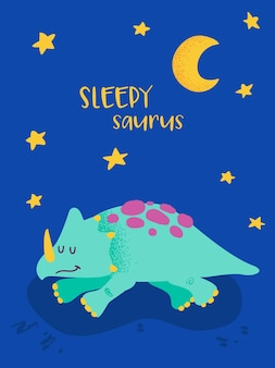 Mignon dinosaure endormi pour l'impression d'affiches, illustration de salutations de bébé, invitation de dino, flyer de magasin de dinosaures pour enfants, brochure de bonne nuit, couverture de livre en vecteur