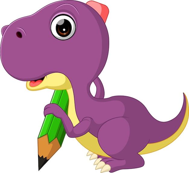 Mignon dinosaure tenant un crayon