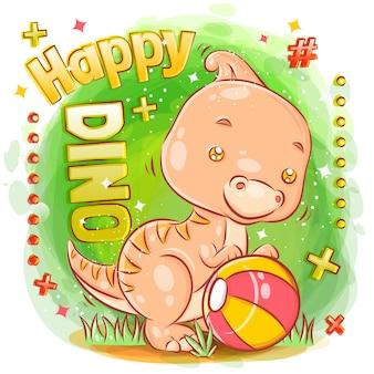 Mignon dinosaures saurolophus jouant au ballon et se sentant heureux illustration
