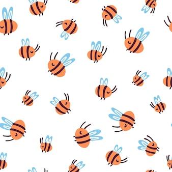 Mignon doodle abeilles motif géométrique sans soudure sur un isolé sur fond blanc