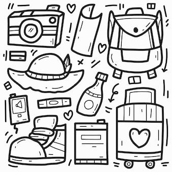 Mignon doodle coloriage voyage dessin animé dessiné à la main